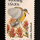 1982 20c Wyoming State Bird & Flower Postage Stamp by Chris Coates