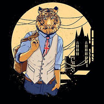 British Urban City Dweller, British Tiger, Anti-Brexit Man, UK Night Life, London Tiger Apparel and Gifts by manbird