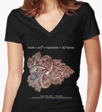 Fractal Math - Dragon Ship Dark Women's Fitted V-Neck T-Shirt