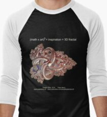 Fractal Math - Dragon Ship Dark Men's Baseball ¾ T-Shirt