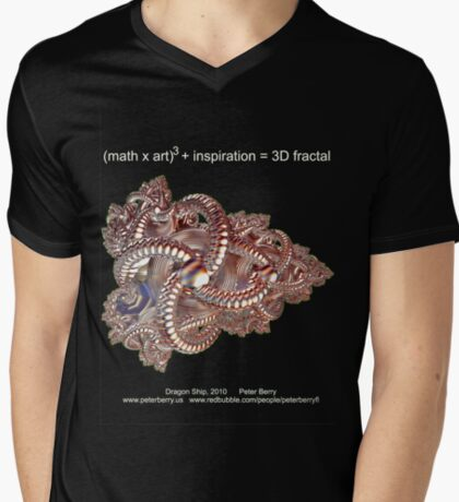 Fractal Math - Dragon Ship Dark T-Shirt