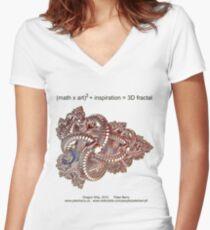 Fractal Math - Dragon Ship Women's Fitted V-Neck T-Shirt