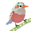 Collage style bird. Patchwork Sparrow illustration by Sandra Hutter