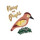 Merry and Bright Retro Bird by Sandra Hutter