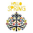 Hello Spring Greeting by Sandra Hutter