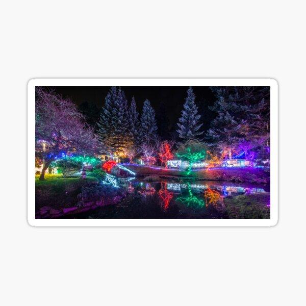 Christmas Lights at Mayne Island's Japanese Gardens Sticker