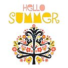 Hello Summer Scandinavian folk art illustration. Flat style isolated lettering. Papercut collage tree with flowers and birds black red pink yellow blue by Sandra Hutter