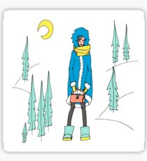 Pastel colour illustration - girl in the winter forest Sticker