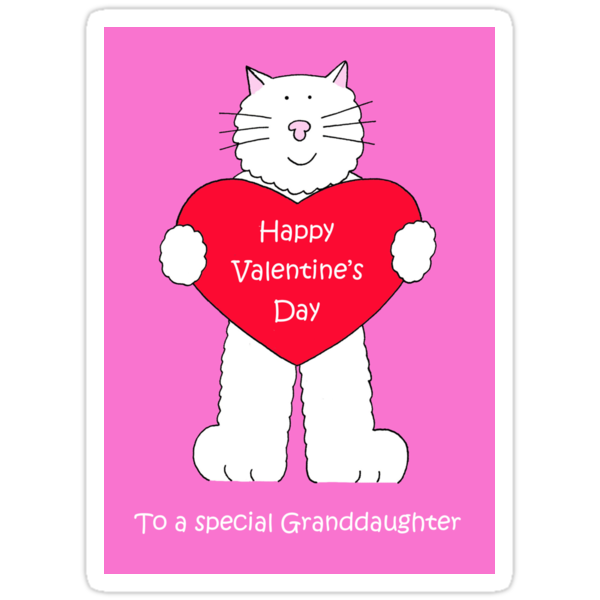 Granddaughter Happy Valentines Day Cartoon Cat Stickers By