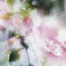 « Feuille et branches en vert et rose » par Fabienne Monestier