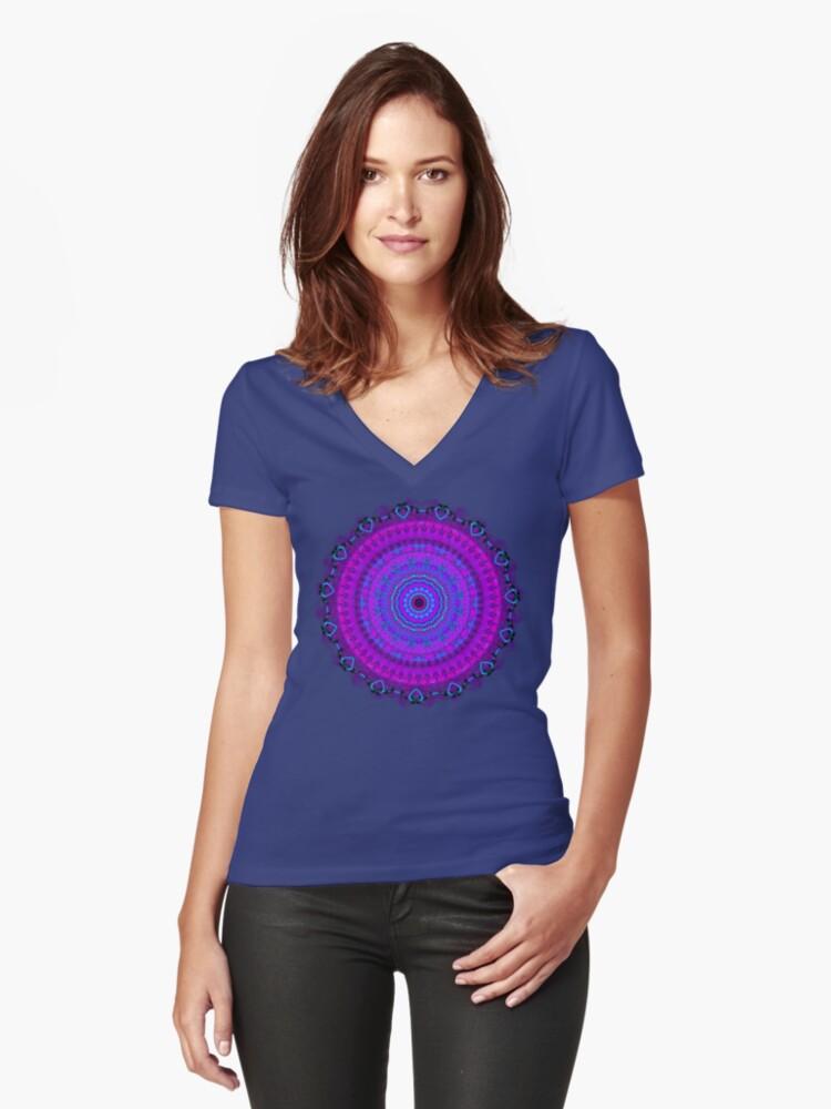 Purple Psyche Mandala Women's Fitted V-Neck T-Shirt Front