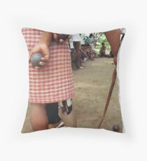 Waiting his turn at boules Throw Pillow