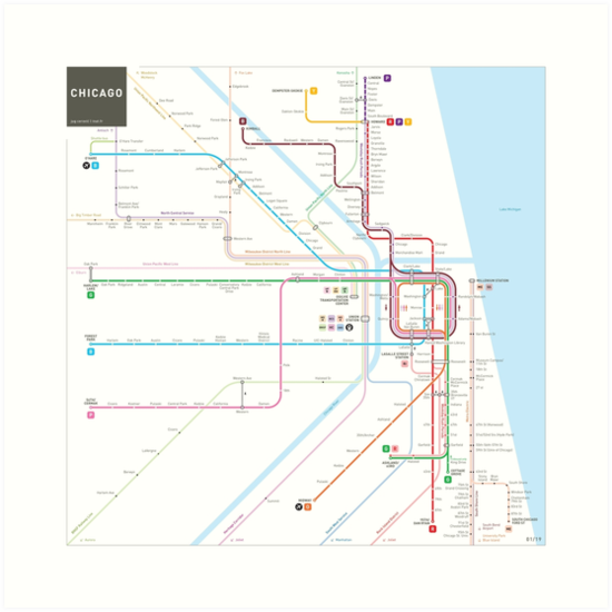 Chicago Subway Map Art Prints By Jug Cerovic Redbubble