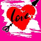 Love Heart Rustic Distressed Painted look Red White Black by funnytshirtemp
