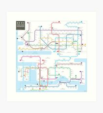 Hong Kong-Shenzhen metro map  Art Print