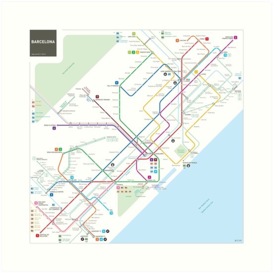 Barcelona Metro Map Art Prints By Jug Cerovic Redbubble