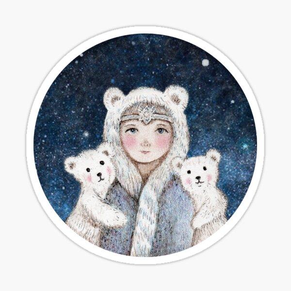 girl with polar bears Sticker