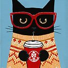 Black Cat in Sweater with Latte by Ryan Conners