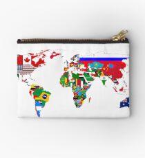World Flags Map Zipper Pouch