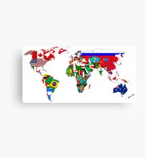 World Flags Map Canvas Print