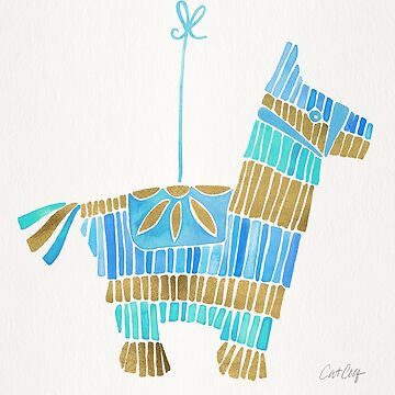 Mexican Donkey Piñata – Blue & Gold Palette by catcoq
