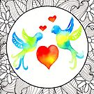 Doodle Art | Lovebirds by coloringiship