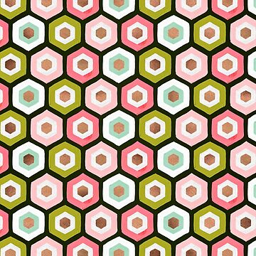 Hexagon Honeycomb Pattern – Pink Sage & Rose Gold by catcoq