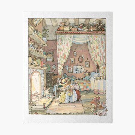 Lady Woodmouse gets Primrose ready for bed Art Board Print