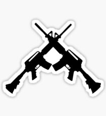 Machine Guns Crossed, Silhouette Sticker