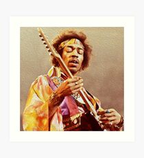 Jimi Hendrix & Guitar Art Print