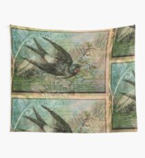Swallow with Flowers Wall Tapestry