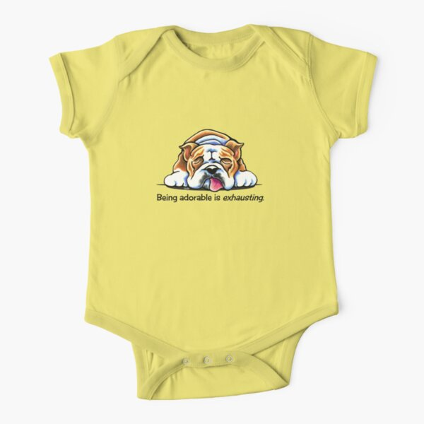 Being Adorable Bulldog Blue Short Sleeve Baby One-Piece