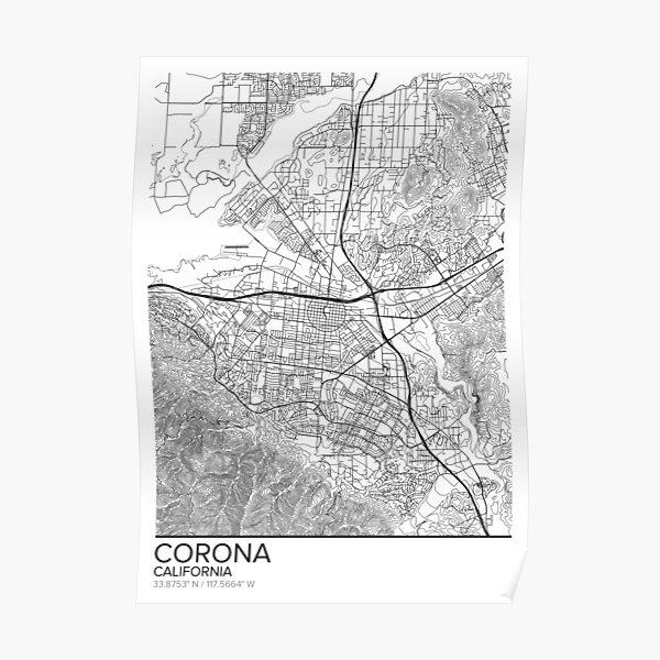 Corona Art Corona California Map Map of Corona Corona black and white map Minimalist Map Corona CA Print Corona Poster