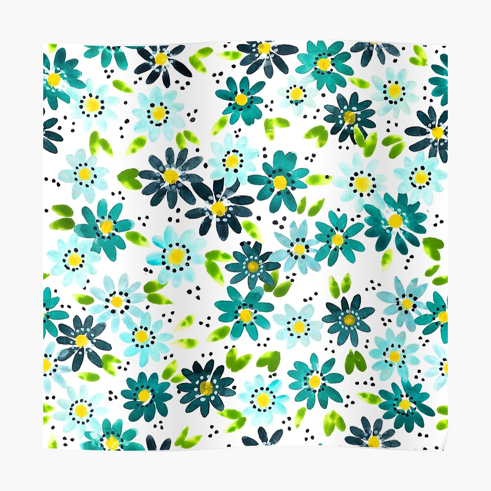 Teal Daisies Poster