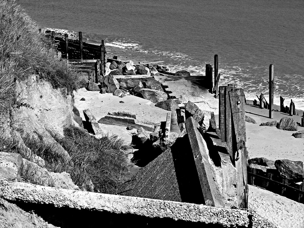 Collapsed concrete ramp at Happisburgh Norfolk in Monochrome by johnny2sheds