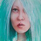 « Portrait fille aux cheveux bleus » par Fabienne Monestier