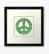 Green peace sign world languages  Framed Print