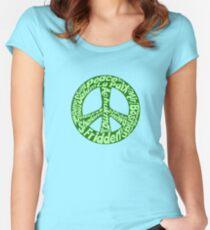 Green peace sign world languages  Women's Fitted Scoop T-Shirt