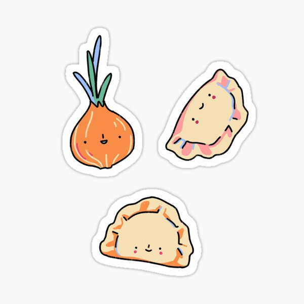 smol foods stickers - pierogis and cebula  Sticker