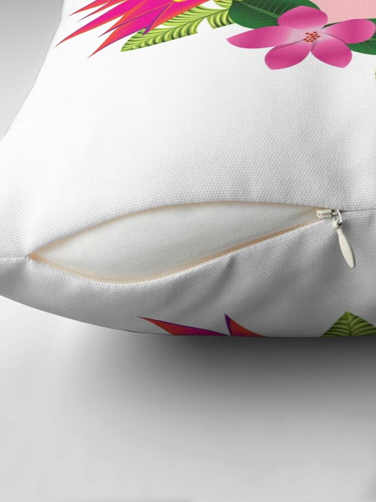 Alternate view of Tropical parrot design Throw Pillow
