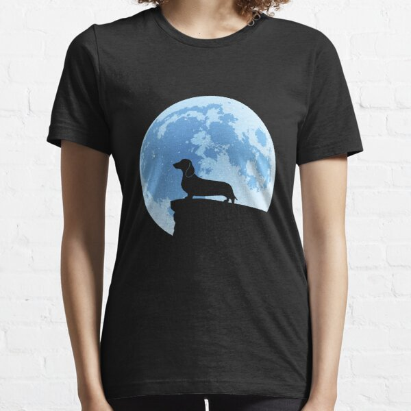 Dachshund Moon Silhouette | NickerStickers on Redbubble Essential T-Shirt