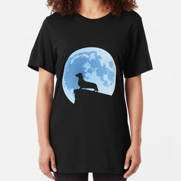 Dachshund Moon Silhouette | NickerStickers on Redbubble Slim Fit T-Shirt