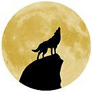 Wolf Howling at the Moon by Rockett Graphics