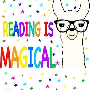 Funny Alpaca Llama Reading is Magical by Mmastert
