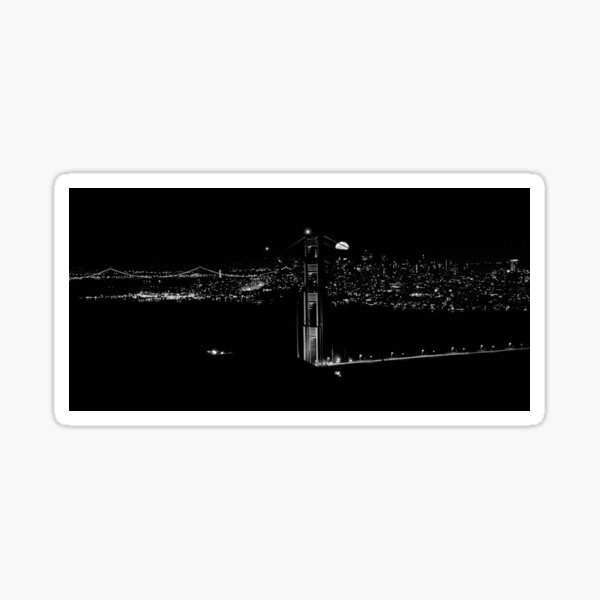 The rise of the supermoon over San Francisco Sticker