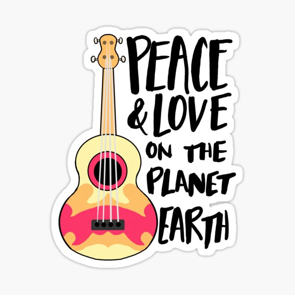 Peace & Love on the Planet Earth Sticker