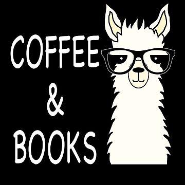 Funny Alpaca Llama Coffee and Books by Mmastert
