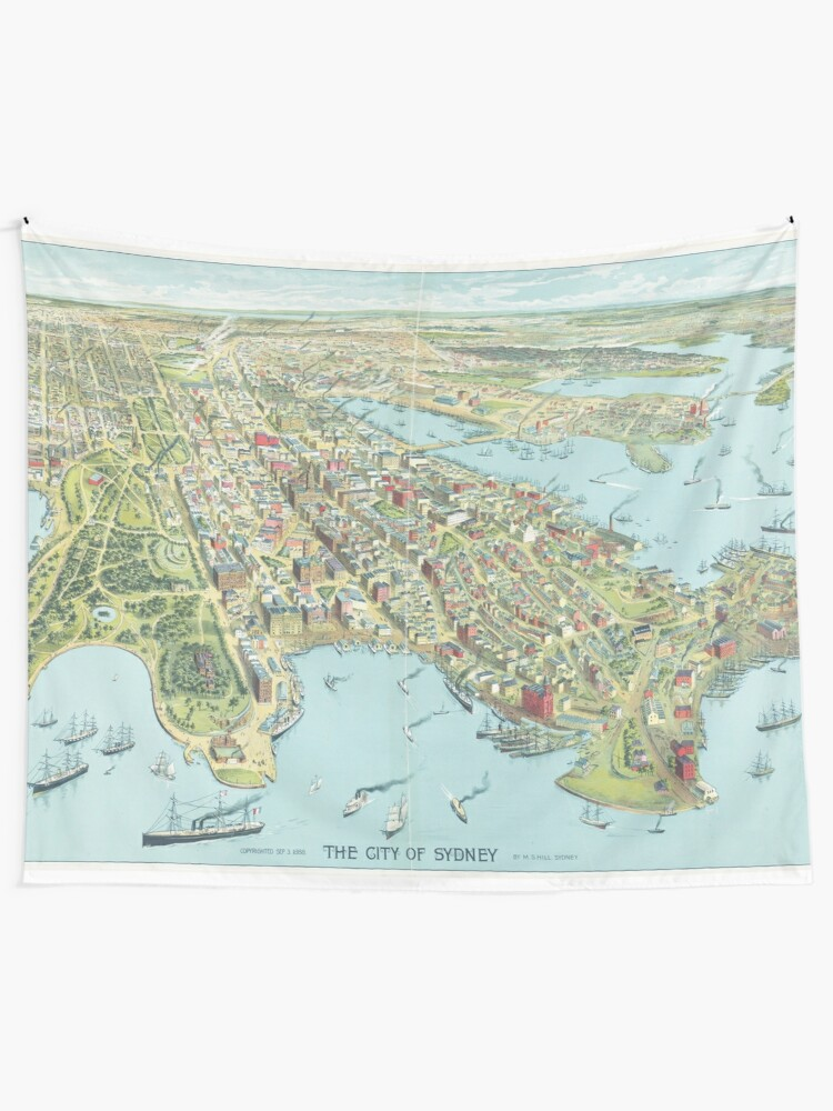 Alternate view of Historic Map of Sydney 1888 – Birdseye of the Harbour City Tapestry