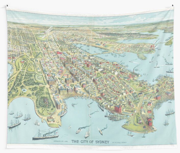 Historic Map of Sydney 1888 – Birdseye of the Harbour City by oc-lock