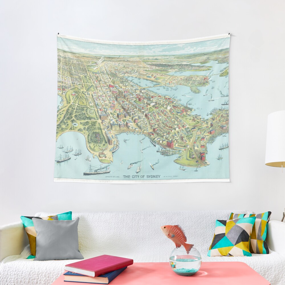 Historic Map of Sydney 1888 – Birdseye of the Harbour City Tapestry